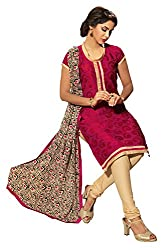 Jiya Presents Multi Embroidered Chanderi Chudidar Unstitched Dress Material(Maroon,Cream)