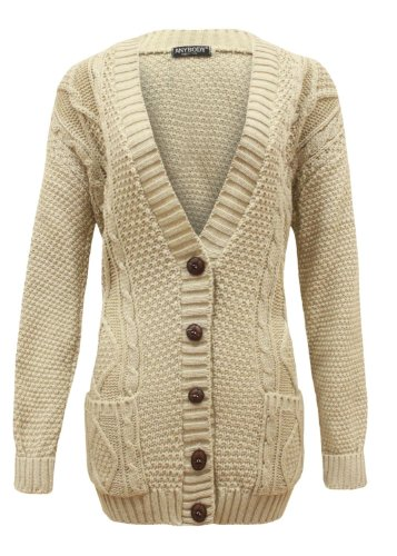 KFS Collection Cardigan Long Sleeve Knitted Button One Size Beige