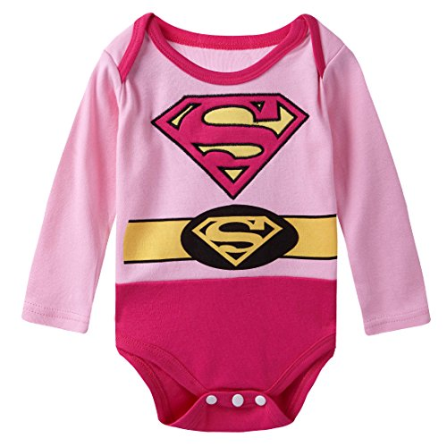 A&J Design Baby Girls' Supergirl Long Sleeve Bodysuit 6-9 Months