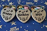 Happy Birthday Wife Gift. Set of 3 Silver Mini Heart Tins Filled With Chocolate Dragees. Perfect Birthday Gift Present .Tin size 45mm x 45mm x20mm. (Wife)