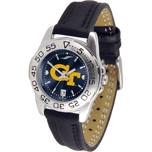 Suntime Georgia Tech Yellowjackets Ncaa Anochrome Sport Ladies Watch Leather Band