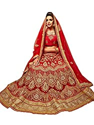 Jiya Presents Embroidered Net Lehenga Choli(Red,Red)