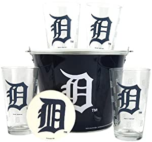 MLB Detroit Tigers Satin Etch Bucket and 4 Glass Gift Set by Boelter Brands