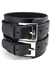 Casoty Jewelry Cool Tribe Wide Wristband Cuff Bracelet Bangle Genuine Leather Chain Rope Black Punk Rock
