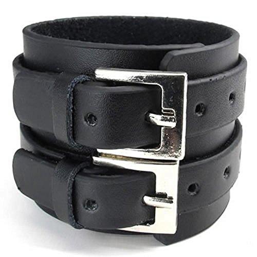 Casoty Jewelry Tribe Wide Wristband Cuff Bracelet Bangle Genuine Leather Chain Rope Black Punk Rock