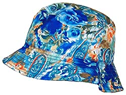 Tropic Hats Lightweight Hawaiian/Floral Designed Floppy Bucket Cap (One Size) - Blue/Aqua/Orange