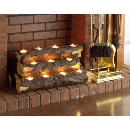 Southern Enterprises Resin Tealight Fireplace Log (Resin Fireplace Logs compare prices)