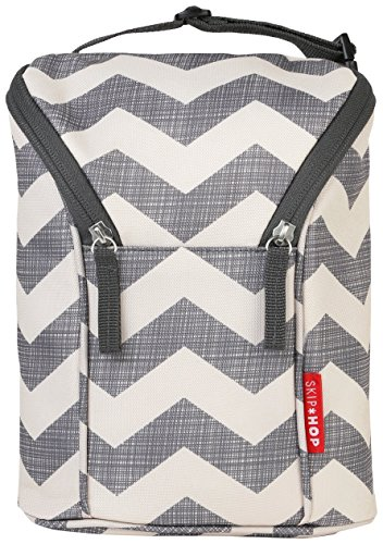 Skip Hop Baby Grab and Go Insulated Double Bottle Storage Bag with Attachable Stroller Straps and Freezer-Pack, Chevron