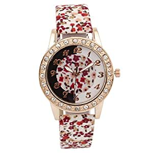 Cosmic Red and White Flower Strap With Flower Dial Designer Watch For Women