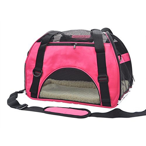 Pet Cuisine Breathable Soft-sided Pet Carrier, Cats Dogs Travel Crate Tote Portable Handbag Shoulder Bag Outdoor Pink M