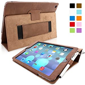 Snugg iPad Air (iPad 5) Case in 'Distressed' Brown Leather - Flip Cover and Stand with Automatic Wake / Sleep, Elastic Hand Strap & Soft Premium Nubuck Fibre Interior to Protect Apple iPad Air (iPad 5) - Includes Lifetime Guarantee