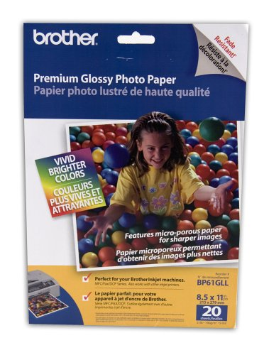 Brother 8 1/2 x 11 Inch High Gloss Inkjet Paper 20 sheets (BP61GLL) – Retail Packaging