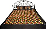 Exotic India Jet-Black Phulkari Embroidered Bedspread from Punjab with Geometrical Motifs - Pure Cot