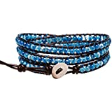 "Blueyes Collection, ""Blue Star"" Faceted Cut Agate Bead Genuine Leather Bracelet, 3 Wraps, 4mm/bead"