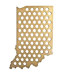 All 50 State Beer Cap Maps - Indiana Beer Cap Map IN - Glossy Wood - Skyline Workshop