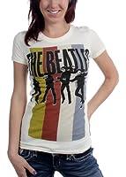 The Beatles - T-shirt rayures Groupe permanent des femmes