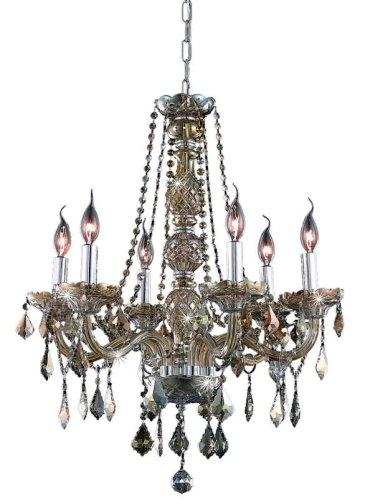 Elegant Lighting 7856D24Gt-Gt/Rc Verona 28-Inch High 6-Light Chandelier, Golden Teak Finish With Golden Teak (Smoky) Royal Cut Rc Crystal front-680521
