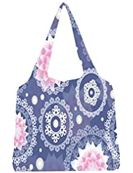 Snoogg Delightful Flower Pattern Cute Womens Jhola Shape Tote Bag