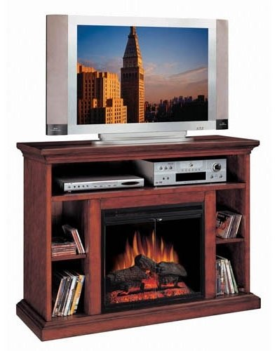 28 In. Media Electric Fireplace In Cherry Wood Veneer Finish