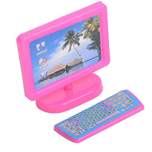 E ting dollhouse miniatura rosa moderno pezzo mobili per for Mobili per computer