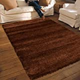 NEW THICK MODERN SHAGGY APOLLO RUG CHOCOLATE BROWN