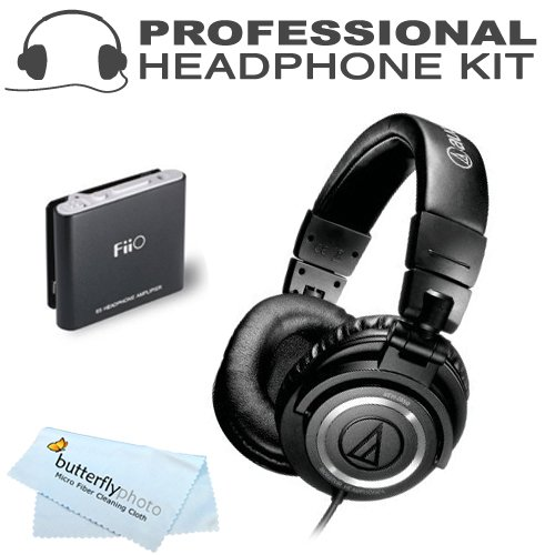 Audio-Technica Ath-M50 Professional Studio Monitor Headphones With Fiio E6 Headphone Amplifier
