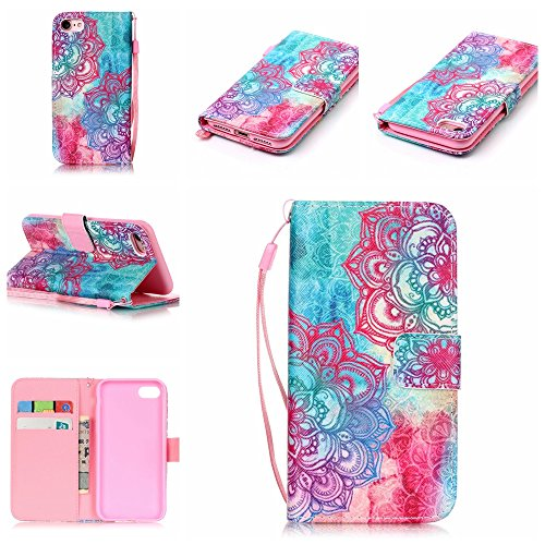 "Custodia iPhone7, iPhone7 Case, Cozy Hut ® Retro Colorful Drawing Art Painted Premium PU Leather Magnetic Flip Wallet Cover with Detachable Hand Lanyard & Card Slots & Stand Function for Apple iPhone7 Case Custodia Cover Shock-Absorption Bumper e Anti-Scratch Clear Back per iPhone7 4.7"" - due fiori"