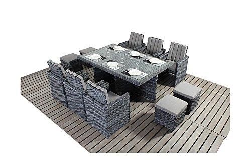 Manhattan grau Garten Balkon Möbel 6-Sitzer Cube Set
