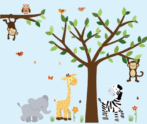 Safari Pride Jungle Tree Wall Decals, Jungle Stickers With Green Leaves And Vinyl Tree