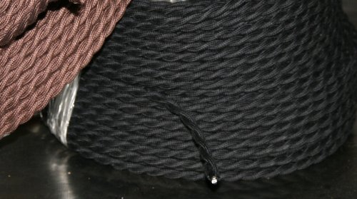 25 Ft. - Black Cloth Covered Twisted Cord - 25' Antique Wire - 18 Gauge 2 Conductor - 18/2 Vintage Cord