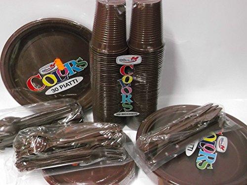 Set tavola party piatti bicchieri posate in plastica Dopla Marrone color Cioccolata