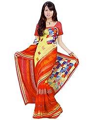 Vamika Georgette Printed Saree (Multi Colour) - B00L309QW4