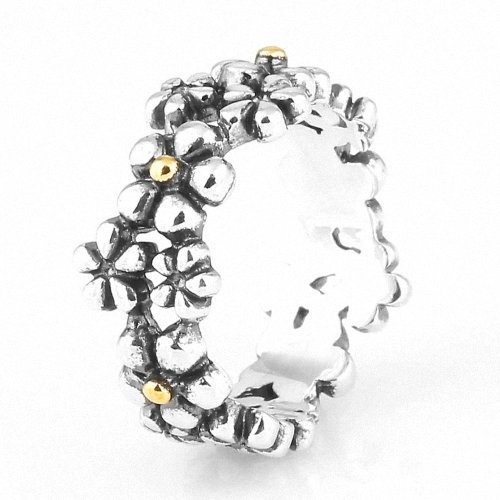Taotaohas-(1Pc) Oxidized Antique Two Tone 100% Solid Sterling 925 Silver Ring, [ Name: Floral Memory, Uk Size: Q 1/2, Us Size 8, Eu Size 56 ], Fit European Bracelets Necklaces Chains, Troll, Biagi Glass Charm Beads