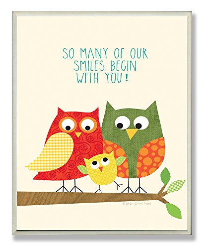 The Kids Room by Stupell Owl Family Smiles Begin with You Rectangle Wall Plaque