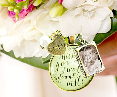 Customized Wedding Bouquet Memory Charm Missing You As I Walk Down the Aisle, Bridal Pendant Memorial Remembrance Photo Jewelry
