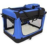 amzdeal® faltbare Hundetransportbox Hunde Katze Transportbox Hundebox Reisebox Hunde Katzen Box Katzenbox Hundehaus Kennel mit seitlichen Einstiegen und Verdunklungsrollos Größe(60cm x 42cm x 42cm) Blau