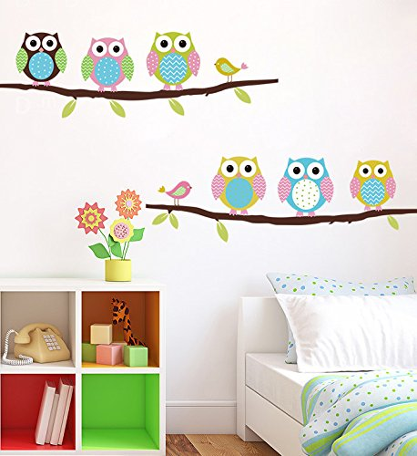 Free Shipping Cartoon Children's Room Bedroom Walls Painted Decorative Sticker Cute Owl Animal Wall Stickers Parlor Kids Bedroom (Red Oakley Sticker compare prices)
