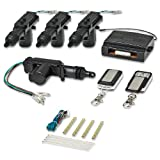 Car Truck Auto Keyless Entry Actuator Motor Power Door Lock Kit with Black Chrome 2 Button Slide Covered Remote Control