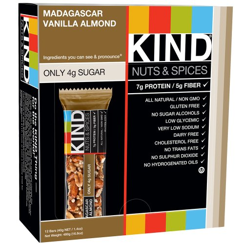 KIND Nuts & Spices, Madagascar Vanilla Almond, 1.4 Ounce, 12-Count Bars