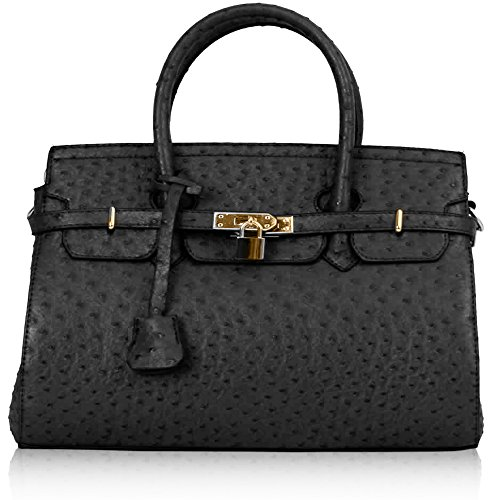 Ladies Elegant Faux Leather Gold Padlock Handbag