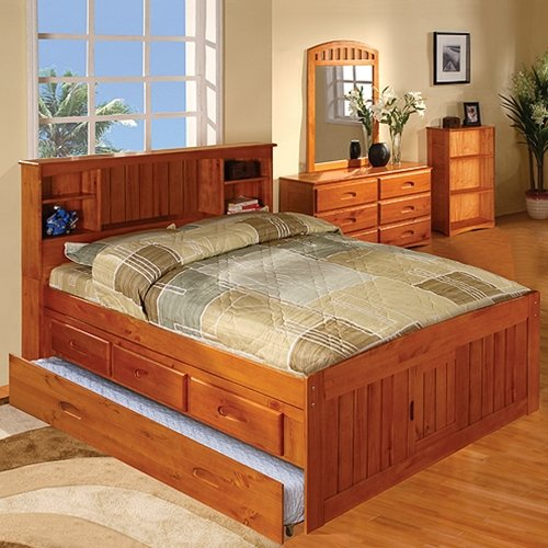 Discovery World Furniture Honey Bookcase Captains Bed Full With 3 Drawer Storage And Bottom Trundle
