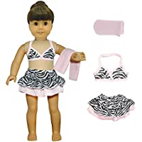 Doll Clothes - 3 Pieces Bikini Swimsuit (Skit, Top And Beach Blanket) Set Fits American Girl Dolls,
