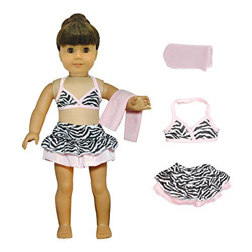 Doll Clothes - 3 Pieces Bikini Swimsuit (Skit, Top And Beach Blanket) Set Fits American Girl Dolls, Madame Alexander And Other 18 Inches Dolls -
