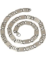 The Jewelbox Mens Stainless Steel Etch Silver Matt Finish Italian Link Chain 20""