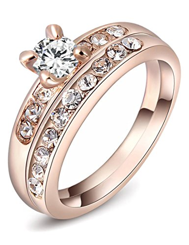 Rose Gold Plated Austrian Crystal Couple Ring Set With 2 Finger Rings Wa670 (8)