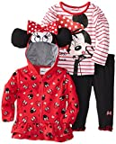 Nannette Baby-Girls Infant 3 Piece Minnie Mouse Hoodie Set