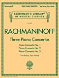 Various Rachmaninov Three Piano Concertos Nos. 1 2 & 3 2Pf 4Hands Pfduet Bk (Schirmer's Library of Musical Classics)