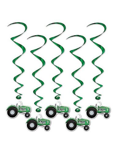 Beistle 57555 5-Pack Tractor Whirls, 3-Feet 4-Inch