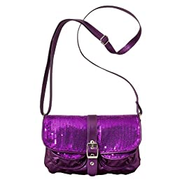 Product Image Sequined Flap Crossbody - Purple
