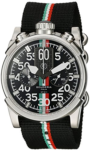 CT-Scuderia-Mens-CS10126-Touring-Analog-Display-Swiss-Quartz-Black-Watch